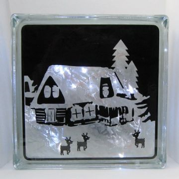 Cottage in the Snow Scene Vinyl Glass Block Template